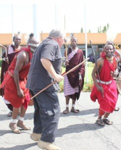 Howard Buffet dances in Tanzania