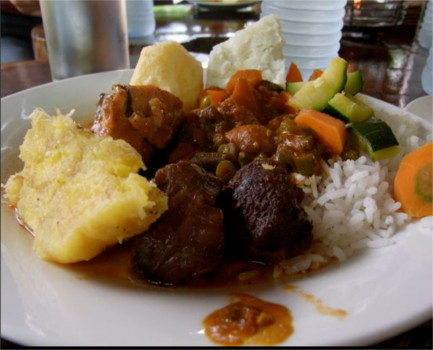 A mouthwatering plate of Ugandan local food..