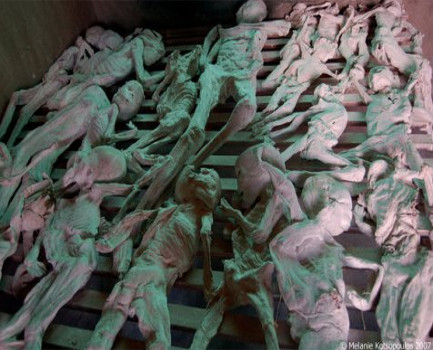 Remains in the Murambi genocide memorials