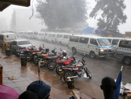 Taxi traffic on a rainy day in kampala..